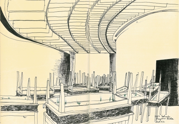 A sketch of Doris Salcedo's Plegaria Muda on exhibition at MAXXI. One of the most interesting installations I have ever seen: Table upon table with dirt sandwiched inbetween. Real grass growing through the tabletops. In response to death in the artist's hometown in Colombia.