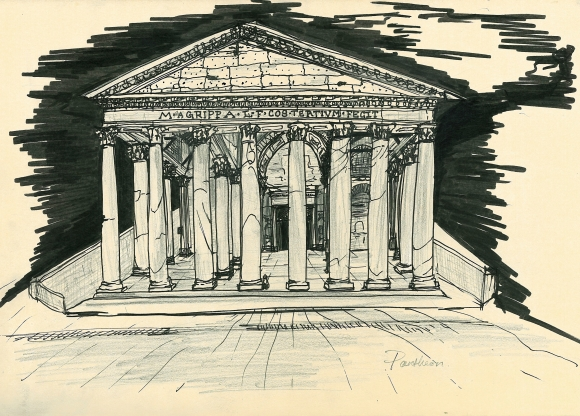 My sketch of the Pantheon. I think I switched perspective points about three times so please forgive the awkwardness.. Still warming up.