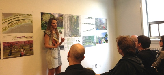 Anita in first year second studio with a food forest proposal for High Park in Toronto