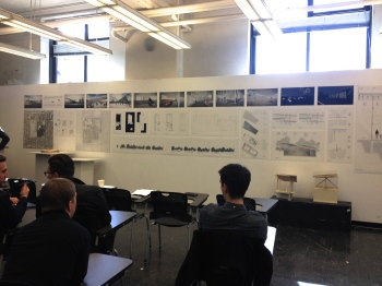 Jeremy and partner, in comprehensive studio of second year M.Arch with the most perspectives of the class; design for community centre of Dufferin Park.