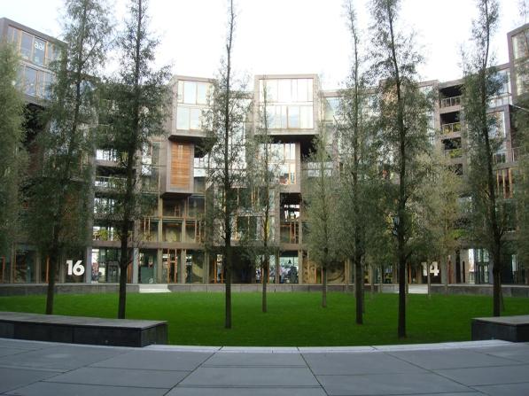 Tietgenkollegiet Student Dormitory: a circular plan centered around a group of pines.