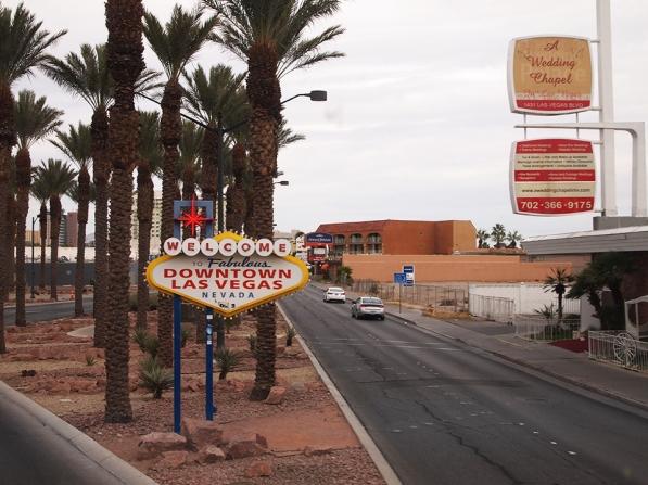 Downtown Las Vegas' matching sign.